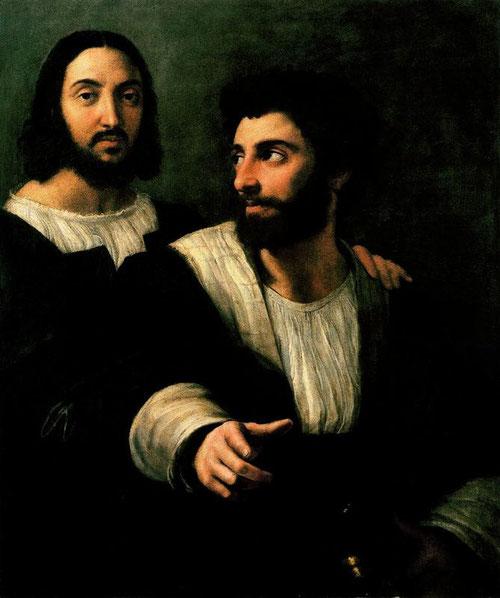 Autrretrato con Giulio Romano, 1519-20.Óleo sobre lienzo. Museo del Louvre, Paris.