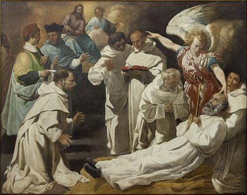 La muerte de S.Pedro Nolasco,1634.Juan Luis Zambrano.Catedral de Sevilla. Posiblemente llegaron desamortizados.El monje moribundo rodeado de varios religiosos en brazos de un novicio,aunque según críticos falta fuerza y espíritu narrativo como al maestro.