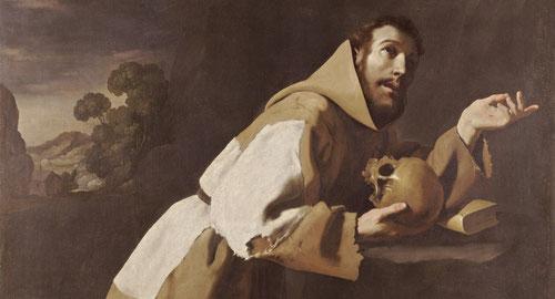 Detalle San Francisco en meditación,1639.National Galery.Uno de los santos favoritos de la Reforma católica postridentina,lo pintó con diferentes iconografías.El santo en oración con llagas en las manos,hombre virtuoso de carne y hueso, con ojos húmedos.