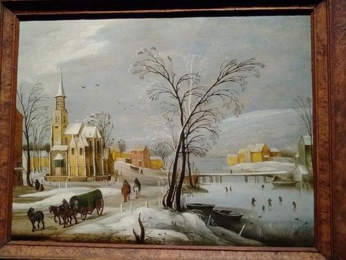Jan Brueghel el Joven.Aldea flamenca en invierno con patinadores.Óleo sobre tabla.1630-35.Colección privada.
