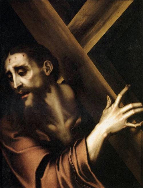 Cristo con la cruz a cuestas 1567,óleo sobre tabla 81x62cm,Colegio del Seminario de Valencia. Su producción devocional estuvo muy influida por maestros italianos como Sebastiano di Pombo.