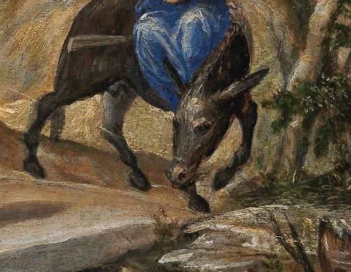 Detalle de La Huida a Egipto de El Greco., juego de diagonales entrecruzadas y movimientos contrapuestos en la pose del burro, tal vez inspirados en Tiziano o Durero.Cromatismo claramente veneciano, no exento de un aspecto ciertamente cómico o narrativo.