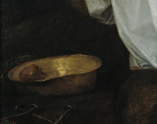 Detalle de los símbolos de la pasión, los clavos,la corona y el brillo dorado de la jofaina en la que está la esponja...Alonso Cano rehúye del dramatismo, el fondo negro envuelve la escena.