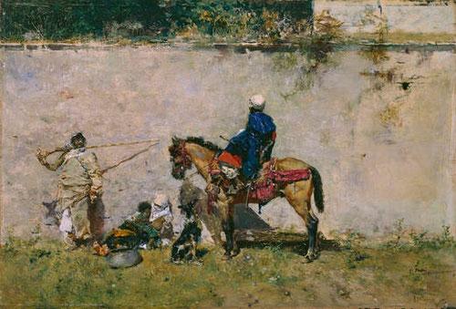 Mariano Fortuny.Marroquíes.1872.Óleo sobre tabla.13x19cm.Legado de Ramón de Errazu
