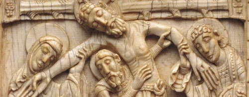 Relieve en marfil 13x13cm.Descendimiento.Anónimo leonés 1115-20.Formaría parte de un ciclo de la Pasión con un marcado sentido narrativo y expresividad evangélica,con un desarrollo global de la imagen de culto.