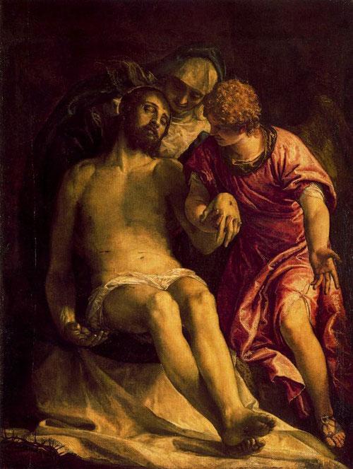 Veronés. Lamentación sobre Cristo muerto, 1576-80. Perfeccionó el esquema iconográfico veneciano tradicional según el cual la Virgen sostiene el cuerpo de Cristo.. La escena, sumida en la penumbra habla por sí sola.