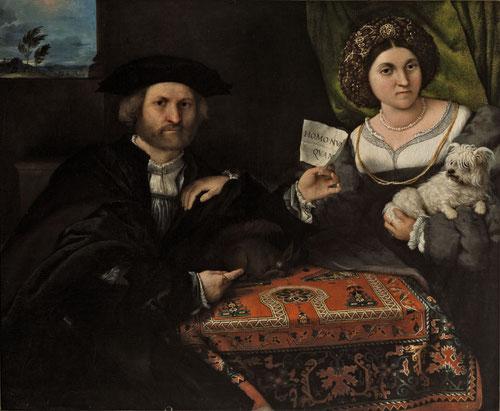 """Retrato de un matrimonio 1523.Óleo 96x116cm.San Petersburgo,The Hermitage Museum. Matrimonio de mediana edad nos mira intensamente,él sostiene un pergamino con la mano izquierda """"Homo Nunquam"""" al tiempo señala una ardilla dormida.Una alfombra de anatolia"""