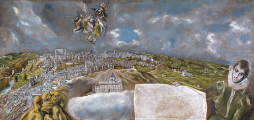 El Greco. Vista y plano de Toledo.1610-14.Óleo sobre lienzo.132x228cm.Museo del Greco.Toledo.El plano mostrado en el cuadro es la planta geométrica más antigua conocida de Toledo y una de las más antiguas de toda España.Arriba la Virgen y S.Ildefonso.