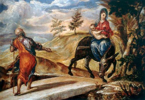 Huida a Egipto.El Greco.Prado.Óleo sobre tabla.16cmx21cm.A pesar del formato reducido logra una atrevida composición y monumentalidad basada en juego de diágonales entrecruzadas y equilibrio asimétrico,contrapesadas con las figuras verticales de M.y Jose.
