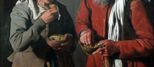 Comedores de guisantes,óleo sobre lienzo,74x87cm.Museo de Berlin.Pareja de indegentes con piel curtida pertenece a su primera etapa,representados con solemne dignidad mientras toman su frugal comida.