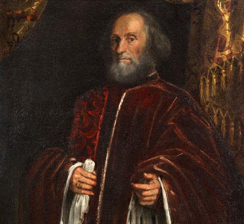 Jacopo Tintoretto. Retrato de un Senador,1570.Óleo sobre lienzo.118x100cm.Museo Thyssen. Se trata de una magistratura que refrendaba una carrera excepcional al servicio de la República, miembro del Senado.