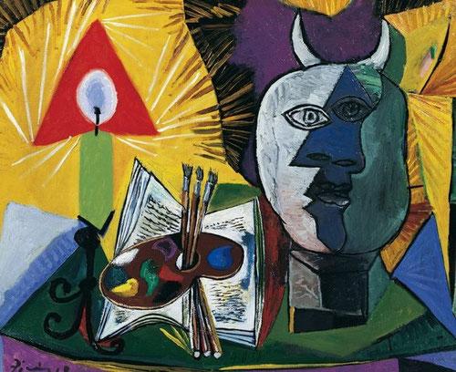 Pablo Picasso.Naturaleza muerta con paleta,vela y cabeza de Minotauro,4 de nov. de 1938.Óleo sobre lienzo 73x90cm.The National Museum of Modern Art,Kioto.Todo un icono en el arte contemporáneo,Picasso supo trasladar en el minotauro su propio alter ego.