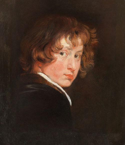 Van Dyck.Autorretrato,1615..con tan sólo 15 años.Óleo sobre tabla,25X19cm. Viena. Una vez que finalizó su formación en el taller con Van Balen. Sorprende su maestría artística y su dinamismo en el desordenado cabello, buscando su propia identidad.