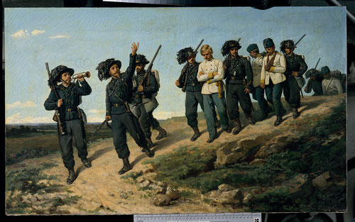 """Silvestro Lega.""""Bersaglieri""""llevando prisioneros austriacos. Palazzo Pitti.Florencia. Óleo sobre lienzo,57x95cm."""