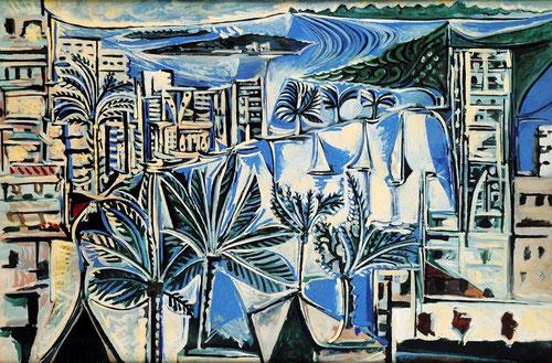 Pablo Picasso.La Bahía de Cannes 1958.Óleo sobre lienzo.130x195cm.Museo Nacional de Picasso.Paris. Impresionante escenario monocolor, azules y blancos con sensaciones de luz y vegetación.El clasicismo-primitivismo impregna su obra.