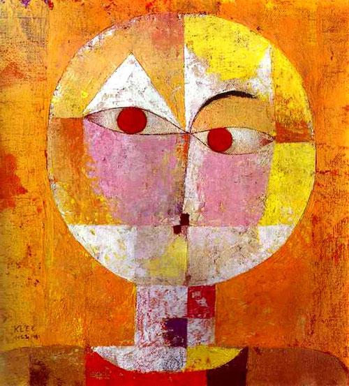 """Senecio.Museo de arte de Basilea.1922. Al mirar sus obras el espectador siente una estética combinada entre la parodia y el ingenio.Enseñó la autentica teoria del color y sus matices en La Bauhaus.""""El color me posee,no tengo necesidad de perseguirlo"""""""