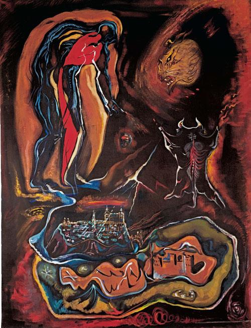André Masson,Vista emblemática de Toledo, 1942,Óleo sobre lienzo, col.particular.Un hombre desnudo y encorvado con gotas de sangre de su dedo índice, toma partida de la guerra civil española, con el simbolismo de un toro abierto en canal,referencia tópica