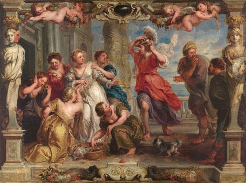 Aquiles descubierto entre las hijas de Licomedes.1635.Museo del Prado. Las hijas del rey Licomedes,rey de Esciros,camuflaron a Aquiles para que Ulises no le descubriera pero Aquiles coge una armadura y se traiciona a sí mismo. Los trazos son  muy seguros.