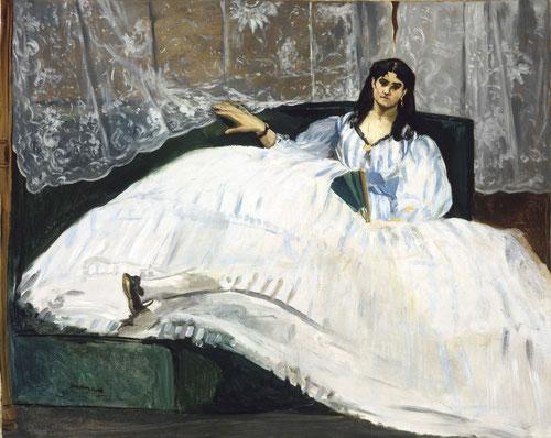 Manet.Dama con abanico 1862. Este celebre retrato representa a la amnte de Bodelaire, la actriz Jan Duval, la famosa belleza mulata.La Venus Negra.