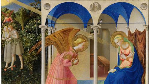 El ángel Gabriel aparece en esta loggia o pórtico, María está rezando con un libro sobre sus rodillas. Y como predicación visual coloca el precedente fundamental para la Encarnación del Hijo de Dios:Adán y Eva han pecado y son  excluidos del Paraiso.