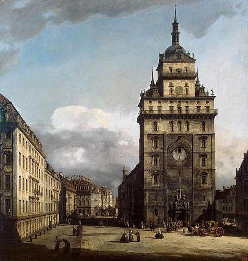 Bernardo Bellotto, La Kreuzkirche en Dresde, 1751. Proviene de la galeria del conde von Brüll, primer ministro del rey de Polonia y elector de Sajonia quien actuó de mecenas.