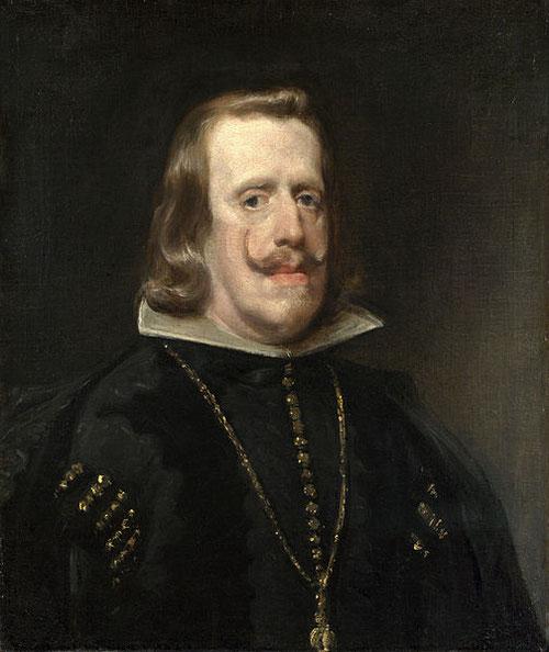 Velázquez retrata varias veces a Felipe IV,pinta este lleno de majestad y humanidad.Abatido por la falta de heredero varón y por la decadencia de la monarquía hispánica,aparece cansado,de forma sobria.Apenas con 50 años luce cadena y Toison de Oro.Londres