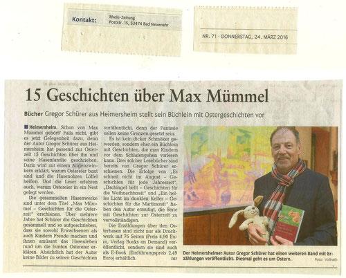 Artikel in der Rhein-Zeitung vom 24. März 2016