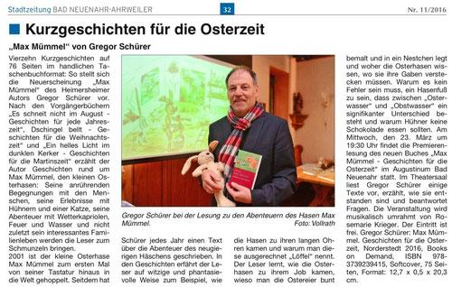 Bericht in der Stadtzeitung Bad Neuenahr-Ahrweiler (Nr. 11/2016)