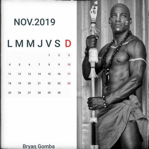 Calendrier Bryan Gomba Novembre 19   Photo : Abraham G Photography - Bijoux : Claudie Paris  - Make up : Mylène Auget -  Access : Satinka