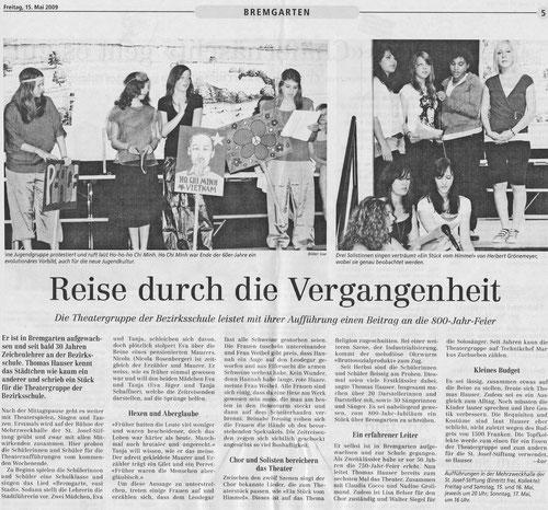 Bremgarte Bezirks Anzeiger, 15. Mai 2009