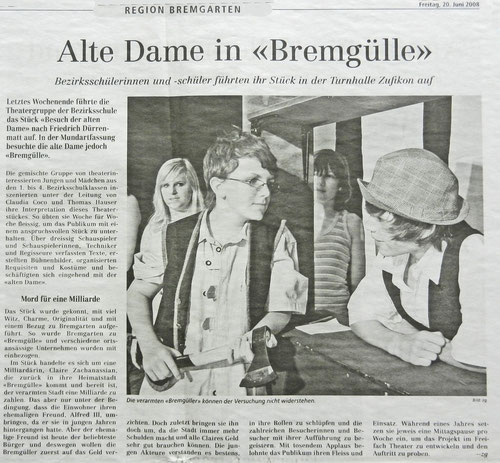 Bremgarter Bezirks Anzeiger, 20. Juni 2008