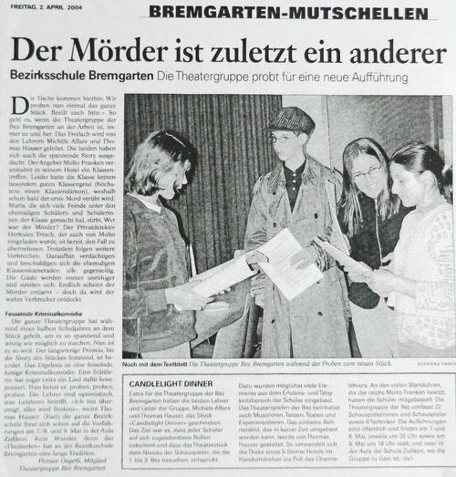 Bremgarter Bezirks Anzeiger, 2. 4. 2004