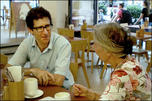 Ms. Lukas in conversation with our translator David