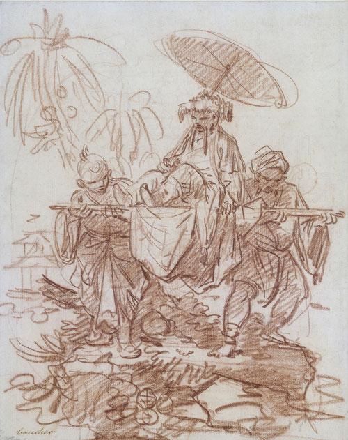 François Boucher, Chinesischer Würdenträger, von zwei Dienern getragen, um 1740, Rötel über dünner Graphitvorzeichnung © Staatliche Museen zu Berlin, Kupferstichkabinett. Foto: Jörg P. Anders