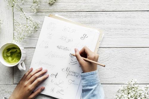 Lettering mit Bleistift