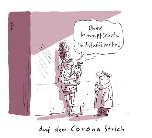 Cartoon zum Thema Corona  Pandemie Shutdown Prostitution