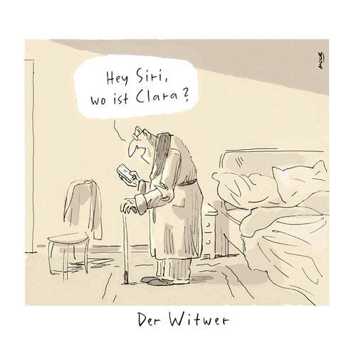 Cartoon Alter Einsamkeit Demenz smartphone siri