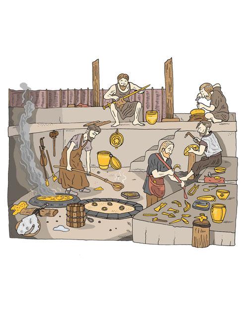 Gußverfahren in der Bronzezeit. Illustration von Niels-Schröder für das Neue-Museum in Berlin. © Niels Schröder