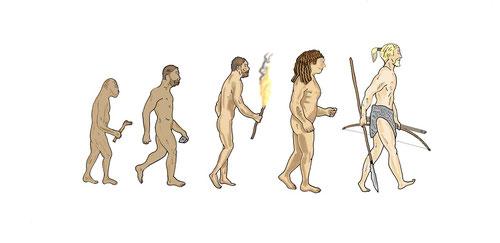 Entwicklung des Menschen, Australopithecus, Homo Erectus, Neanderthaler, Homo Sapiens. Die Entwicklung des Menschen, gezeichnet von Niels-Schroeder.