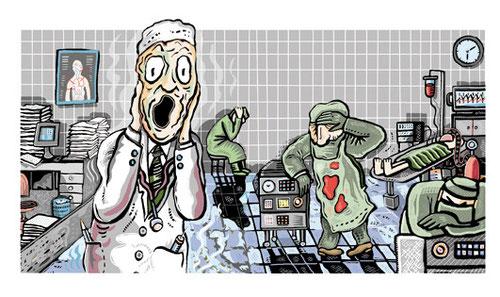 Angst unter Medizinern war das Thema des Artikels der hier von Niels-Schröder illustriert und umgesetzt wurde. © niels-schroeder