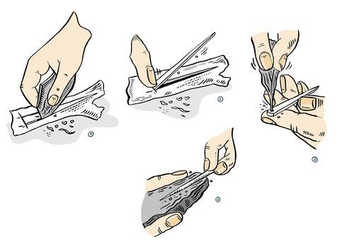 Herstellung einer Nadel in der Jungsteinzeit. Zeichnung von Niels Schröder für das Neue Museum Berlin.
