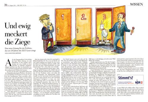 """""""Das Ziegenproblem"""", Illustration zu einem Text von Christoph Drösser über das Phänomen der Wahrscheinlichkeitsrechnung. Niels Schröder für DIE ZEIT, 2011"""