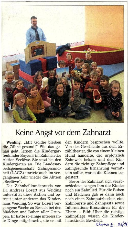 Zahnarzt Dr. Lozert im Kinderhaus Weiding