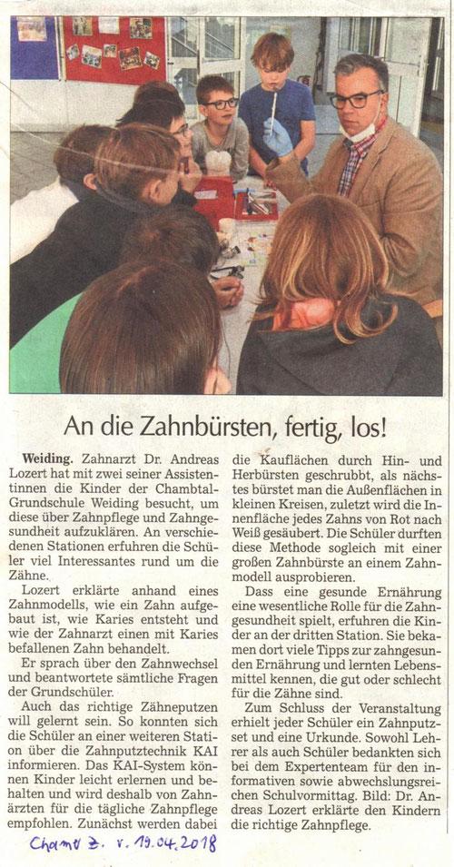 LAGZ-Schulbesuch Dr. Lozert in Chambtalschule Weiding am 10.04.2018