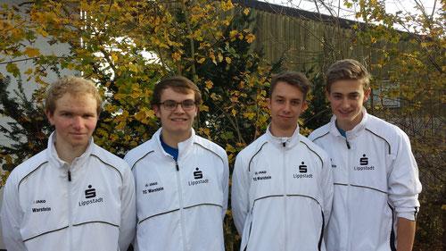 Unsere jungen Herren nach dem Winterspiel in Brilon. Von links nach rechts: Nils Gerlach, David Schulte, Jonas Enste und Christian Hölting