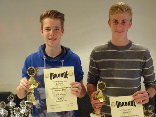 U 15 Jungen: Platz 1 Henning Hölting (rechts), Platz 2 Yannik Enste (links), Platz 3 Maximilien Franke (fehlt)