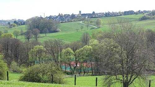Im Frühjahr kann man am besten erkennen, wie idyllisch unsere Tennisanlage im Romecketal liegt. (Klick aufs Bild für eine größere Ansicht)