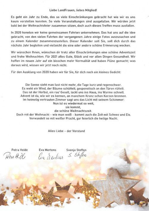 Weihnachtsbrief LandFrauenVerein Kappeln an die Mitglieder