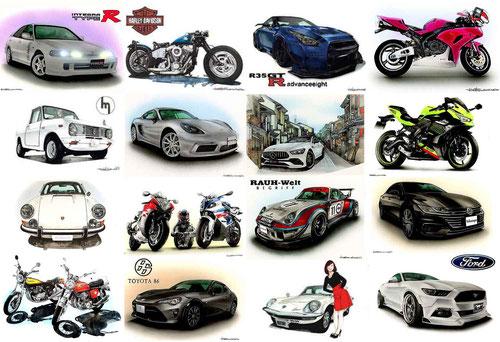 車バイクのイラスト制作サンプル画像