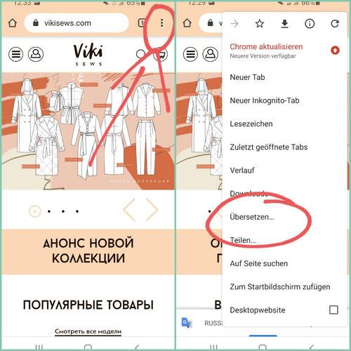 Seiteneinstellung für die Übersetzung (ist bei anderen Handys evtl. etwas anders)